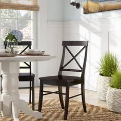 Beachcrest Home Melbourne Shores Solid Wood Cross Back Side Chair in Black Cross Back Dining Chairs, Solid Wood Dining Chairs, Upholstered Dining Chairs, Dining Chair Set, Dining Room Table, Desk Chair, Home Living Room, Living Room Furniture, Wood Crosses
