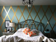 gold duck tape diamond wall! Love this!! Since I cant paint the apartment!