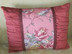 Coral Floral and Birds Pillow with Ruching by DesignsByJudySnoke, $45.00