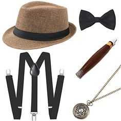 7 COLOR SET OPTIONS BABEYOND 1920s Mens Gatsby Costume Accessories Set 30s  Pa. a6f1e134f554