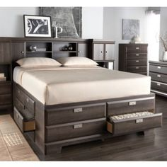 My wish from Santa Bookcase Headboard, Bed Frame And Headboard, Bookcase Storage, Headboards For Beds, Bed Storage, Padded Headboards, Bedroom Bed Design, Bedroom Sets, Master Bedroom