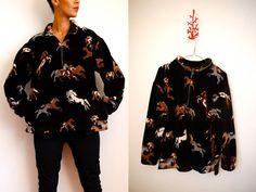 Vtg Horse Printed Half Zip Fleece Sweater  http://www.etsy.com/shop/LuluTresors