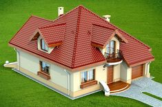 DN Karen is a house with an attic, basement with garage single user in a block building. The project is. Roof Styles, House Styles, Modern Bungalow House, Architectural House Plans, Mexico House, Building Images, Simple House Design, Attic Design, Best House Plans