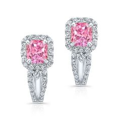 18K WHITE GOLD  INSPIRED EARRINGS FEATURES TWO PINK COLOR ENHANCED RADIANT DIAMONDS TOTALING 1.44 CARAT AND DESIGNED WITH HALO ROUND WHITE DIAMONDS