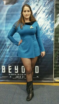 Jacinta is first and foremost my signature cosplay, from when I started cosplaying I have always had a TOS science uniform, with Trill spots. Reporting for Duty Star Trek Rpg, Star Trek Uniforms, Star Trek Cosplay, Star Trek Images, Pantyhose Fashion, Star Trek Original, Beauty Full Girl, Cosplay Girls, Sexy Legs
