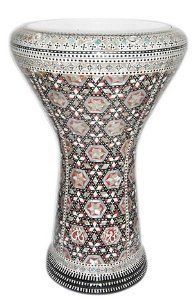 """17"""" Mother of Pearl Doumbek Drum Gawharet El Fan Darbuka by Gawharet El Fan. $249.00. This is a beautiful new 17 darbuka. Comes with a clear synthetic head and a premium case. This drum is a top quality drum with shiny shells Egyptian decorations. The Beautiful and intricate inlay of real mother of pearl and the beautiful shiny patterns, make this drum a real work of art. Covered with real mother of pearl that reflects the spectral colors with shiny shells patterns..."""