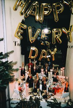 """happy every day"" letters over a bar of champagne 22nd Birthday, Birthday Celebration, Birthday Parties, Birthday Brunch, I Party, Party Time, Party Ideas, Disco Party, House Party"