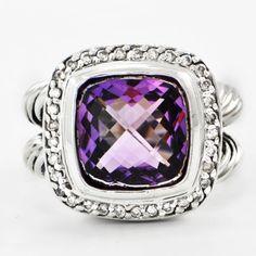 "David Yurman Amethyst and Diamond ""Albion"" Ring | Perry's Fine Antique & Estate Jewelry"