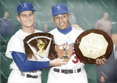 Don Drysdale Don Newcombe Dodgers MVP Cy Young Colorized Photo Don Drysdale, Cy Young Award, Colorized Photos, Dodgers, Baseball Cards