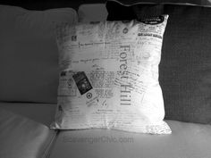 Personalized Heirloom Pillow.  She scanned a bunch of family documents and memories, printed them on fabric and made a pillow!