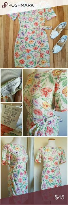 90s Vintage Silk Floral Botanical Pastel Dress Such a gorgeous dress! Vintage silk dress with pastel flowers and leaves, sort of tropical / botanical print. Has a faux wrap style bottom portion and has a buckle at the waist to cinch it a bit tighter. Brand is Liz Claiborne, 100% silk, size 2 petite. I'm happy to provide measurements if desired!  This dress is also available on Etsy, so this listing may be removed at any time. Shoes also available in my closet! Vintage Dresses Mini