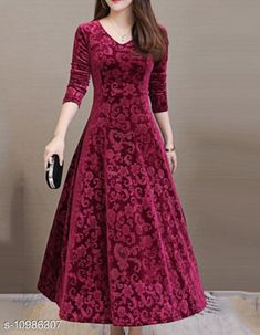 Dresses Fancy Designer Women Dress Fabric: Wool Sleeve Length: Long Sleeves Pattern: Printed Multipack: 1 Sizes: S (Bust Size: 32 in, Length Size: 46 in)  XL (Bust Size: 38 in, Length Size: 46 in)  L (Bust Size: 36 in, Length Size: 46 in)  M (Bust Size: 34 in, Length Size: 46 in)  Country of Origin: India Sizes Available: S, M, L, XL   Catalog Rating: ★4 (5633)  Catalog Name: Fancy Designer Velvet Women Dresses CatalogID_2035882 C79-SC1025 Code: 893-10986307-789