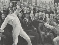1816 match between the Comte de Bondy and the fencing master Lafaugere by Frederic Regamey. Jean Louis served as the President de Combat, and can be seen at center, behind the fencers' blades.