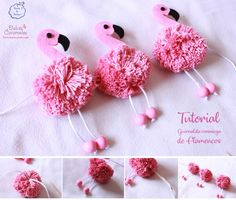 Tutorial for wool and felt flamingos - Fantasy Points- Tutorial für Woll- und Filzflamingos – Fantasy Points Tutorial for wool and felt flamingos – Fantasy Points, - Flamingo Party, Flamingo Craft, Flamingo Ornament, Flamingo Birthday, Pom Pom Crafts, Yarn Crafts, Felt Crafts, Diy And Crafts, Crafts For Kids