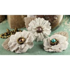 Flaxence Fabric Flowers With Gem & Beads 2 3/Pkg DIY by iluvdesign, $5.05