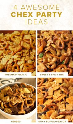 Make one of these easy chex mix recipes for a tasty snack. Upgrade your Chex Party Mix with these easy recipe ideas like sweet and spicy Thai flavor and Buffalo and bacon flavor. Easy Snacks, Yummy Snacks, Snack Mix Recipes, Snack Mixes, Low Calorie Recipes, Healthy Recipes, Yummy Recipes, Recipies, Appetizers For Party