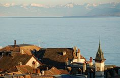 Taken from the Castle of Nyon, Switzerland. Lake Geneva and the Alps in the background. The Places Youll Go, Places Ive Been, Lake Geneva Switzerland, Best Memories, Beautiful World, San Francisco Skyline, Places To Travel, Paris Skyline, Travel Inspiration