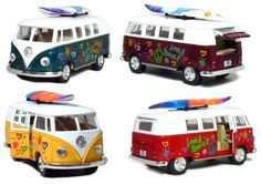 """Set of 4 Vehicles: 5"""" 1962 VW Classic Van Flowers with Surfboard (Red, Green, Maroon and Yellow) by Kinsmart-Kinsfun. $19.99. Doors Openable. Not Suitable for Children Under 5 Years Old. Pull Back and Go Action. Official Licensed Product. 5"""" Die-cast Metal Car with Plastic Parts 1/32 Scale. Set of 4 Vehicles: 5"""" Die-cast metal 1962 VW Van with Surfboard, Pull Back n Go Action.. Save 29%!"""