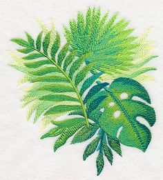 Tropical Leaves in Watercolor 3 design (M4047) from www.Emblibrary.com