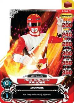 Power Rangers action card - Red Galaxy Ranger