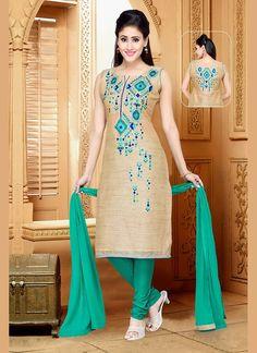 Beige Green Art Silk Designer Salwar Kameez #Salwars #SalwarKameez #SalwarSuits #DesignerSalwarSuits #OnlineSalwarShopping