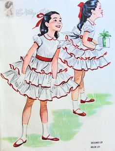 1950s Beautiful Girls Party Dress Pattern Designer Helen Lee Multi Ruffled Skirt, Peter Pan Collar, Puff Sleeves Totally Adorable McCalls 4542 Childrens Vintage Sewing Pattern Size 4