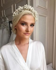 IVORY// The classic bridal colour. Soft, clean and elegant. Model wearing our silk gown from pearl Headpiece came from… Bride Headband, Pearl Headband, Wedding Headband, Bride Hairstyles, Headband Hairstyles, Pearl Headpiece, Headdress, Turbans, Wedding Hair And Makeup