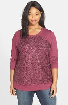 Halogen® Embellished Sweatshirt (Plus Size) available at #Nordstrom