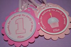 12 Girl's 1st Birthday Party Favor Tags - Cupcake Theme - Pink and Purple - Personalized on Etsy, $10.00