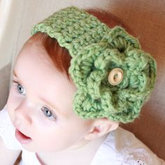 Crocheted Baby Headband with Detachable Flower Pattern