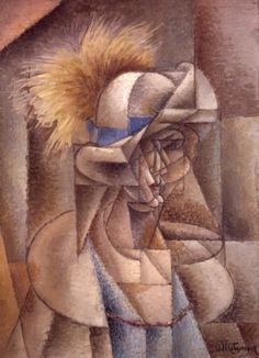 Jean Metzinger - The Yellow Feather (La plume jaune) Cubist Paintings, Cubist Art, Picasso Cubism, Yellow Feathers, Francisco Goya, Georges Braque, European Paintings, Post Impressionism, Oil On Canvas