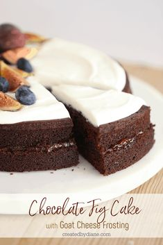 Chocolate Fig Cake with Goat Cheese Frosting createdbydiane.com Fig Recipes, Baking Recipes, Cake Recipes, Round Cake Pans, Round Cakes, Chocolate Recipes, Chocolate Cake, Chocolate Lovers, Water