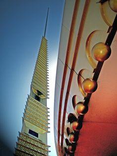 Retro Space Age Spire - architecture, modern, orange, blue  - 9 x 12 fine art photograph. $30.00, via Etsy.