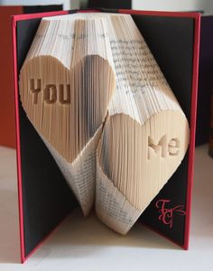 Folded Book Art - You & Me in Heart - Book Sculpture - Unique - Christmas - Birthday - Inspirational - Book Folding - Anniversary - Love by TodaysCreations1 on Etsy