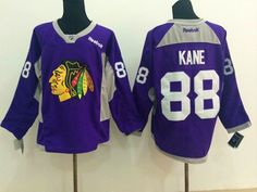 Men s Reebok Chicago Blackhawks  88 Patrick Kane Practice Jersey Purple Nhl  Chicago df94649f8