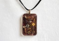 Steampunk Watch Parts on Brown Leather Resin Necklace - Handmade Resin Jewelry and Accessories by Resinholique