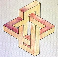 The World's Best Photos of impossible and isometric Isometric Shapes, Isometric Drawing, Impossible Shapes, Graph Paper Art, Desenho Tattoo, Math Art, Paper Drawing, Drawing Projects, Illusion Art