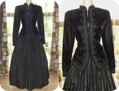 $135.99 #Vintage #80s #Edwardian Black Velvet & Taffeta Ball #Gown #Dress Set Skirt Jacket 14 XL #Victorian #Gothic #Steampunk by IntrigueU4Ever, $135.99