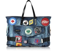 DSQUARED2 Blue Washed Denim Oversized Tote w/Patches. #dsquared2 #bags #shoulder bags #hand bags #denim #tote #cotton #