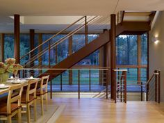 Glass walls, open stairs