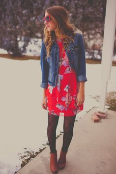 I love denim and floral together. The blue with the red is so pretty. You can transition this to spring or summer by switching out the tights and boots for sandals.