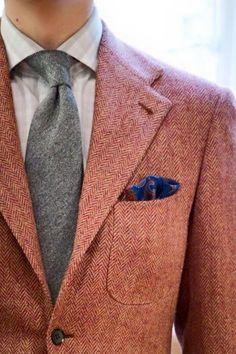 Rose herringbone tweed