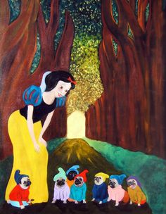 """11x14/ 2 for 1 / Pug Dog Art Print /""""Snow White and the 7 Little Puggies""""/by Original Mike Holzer. $18.50, via Etsy."""