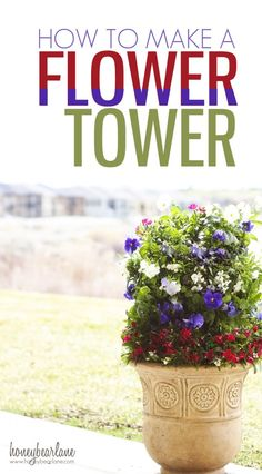 How to make a flower tower--these look super expensive and fancy but not hard to make yourself! www.honeybearlane.com #digin