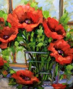 Daydreamer Poppies and a Very Pleasant Surprise by Texas Artist Nancy Medina, painting by artist Nancy Medina