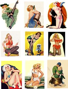 Awesome retro burlesque pin-up decoupage paper!