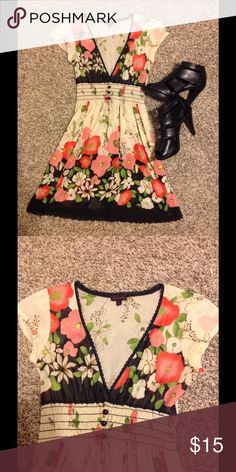 Adorable sheer dress Sheer, high stretchy waistband, v neck.. ivory and brown with floral print... great condition Dresses Midi