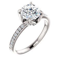 1.5 Ct Round Ring For Gemstone 14k White Gold – Goldia.com