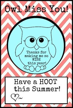 owl miss you - ADORABLE end of year card/gift tag for teacher
