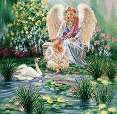 Dona Gelsinger, artist ~ lady angel ~ little girl angel ~ swan Angel Images, Angel Pictures, Images Du Christ, Yorkshire Rose, I Believe In Angels, My Guardian Angel, Angels Among Us, Angels In Heaven, Angel Art